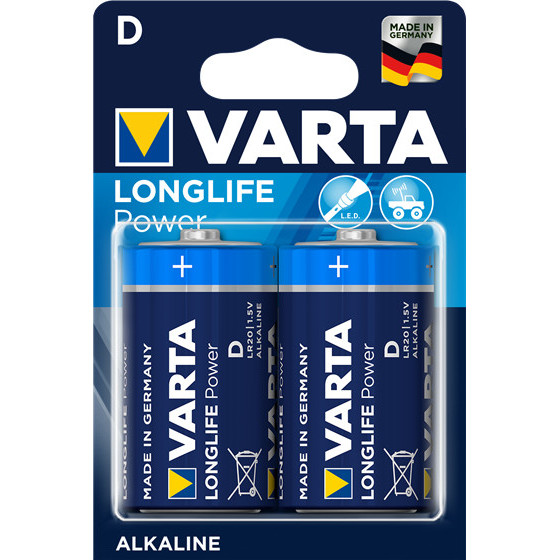 Piles LR20 Long Life Power 2 alcalines D - Varta - 4920